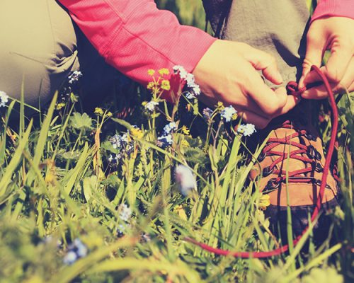 woman hiker tying shoelace on grassland grass