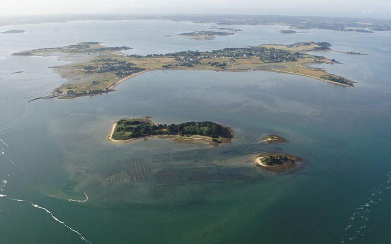 vue aerienne de l'île Drenec (île d'Arz), Golfe du Morbihan (56), Bretagne et ses îles, France, Europe